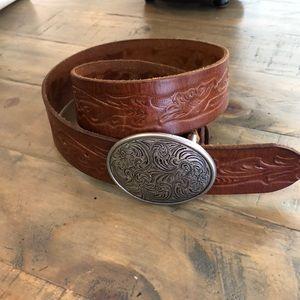 Xhilaration Tooled leather belt w western Buckle.